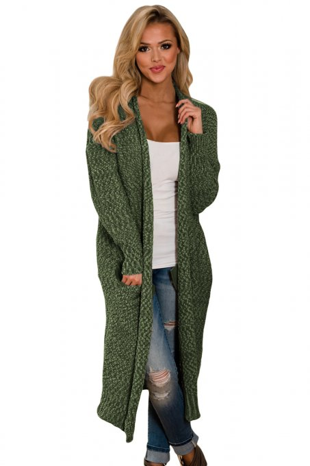 Green Open Front Knit Long Cardigan