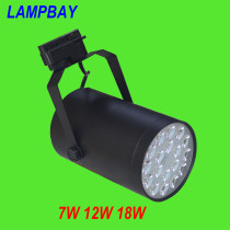 LED Track Lights 7W 12W 18W 90lm/watt 85-265V White/Black Body work with 2 wires rails