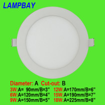 LED Panel Lights Ultra thin downlight Round 3W 6W 9W 12W 15W 18W AC110/220V 90lm/w