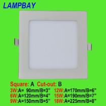LED Panel Lights Ultra thin downlight Square 3W 6W 9W 12W 15W 18W AC110/220V 90lm/w