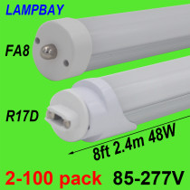 LED Tube Bulb 8ft 2.4m 40W 48W Rotated Base FA8 R17D(HO) Lamp T8 T10 T12 F96 Fluorescent Light 94  Bar Lighting 110-277V