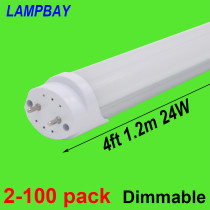 LED Tube Bulb 4ft 48  120cm Dimmable Lamp 20W 24W T8 G13 Bi-Pin Retrofit Fluorescent Light Bar Lighting 110V 220V 277V
