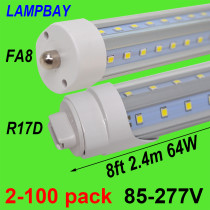 V Shaped 8ft 2.4m LED Tube Light 48W 64W Single pin FA8 R17D HO F96 T8T10T12 Fluorescent Lamp Super Bright Retrofit Bulb