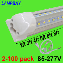 V shaped LED Tube Lights 2ft 3ft 4ft 5ft 6ft 8ft 270 angle Bulb T8 Integrated Fixture Linkable Bar Lamp Super Bright