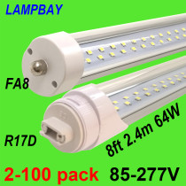 Twin Row LED Tube Lights 8ft 2.4m FA8 R17D Rotated HO Lamp Retrofit Fluorescent Bulb Double Bar Lighting Super Bright