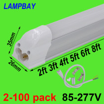 T5 Integrated Bulb Fixture 2ft 3ft 4ft 5ft 6ft 8ft LED Tube Light Slim Bar Lamp Linkable Linear Lighting Surface Mounted