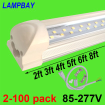 Double Row LED Tube Lights 2ft 3ft 4ft 5ft 6ft 8ft Super Bright Twin Bar Lamp T8 Integrated Bulb Fixture with fittings