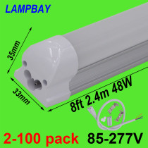 LED Tube Light 8 foot 2.4m T8 Integrated Bulb Fixture 40W 48W 8ft Bar Lighting Wall Lamp with fittings 110V 220V 277V