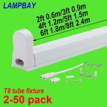 LED Tube Light Fixture 2ft(0.6m) 3ft(0.9m) 4ft(1.2m) 5ft(1.5m) 6ft(1.8m) Bar Lamp Fitting T8 Bulb Housing G13 Holder