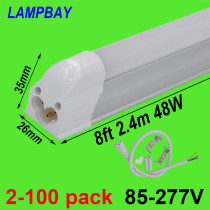 LED Tube Light 8ft 2.4m 40W 48W T5 Integrated Bulb Fixture with fittings 8feet Fluorescent Lamp Linkable Linear Lighting