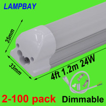 LED Tube Light 4 foot 1.2m 20W 24W Dimmable Lamp T8 Integrated Bulb Fixture Linkable 48  Bar Linear Lights 85-277V