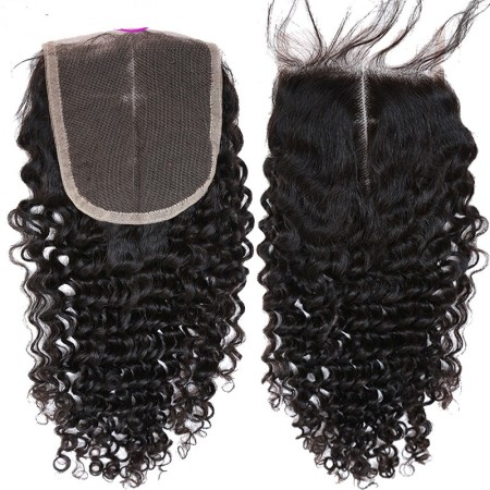 Cheap Virgin Curly Wave Lace Closure Hair