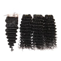 100% Unprocessed Virgin Malaysian Mix Hair Weave & Lace Closure