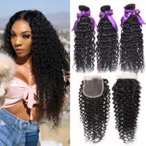 Mix Combination 3pcs Peruvian Curly Wave + 1pc Hair Closure