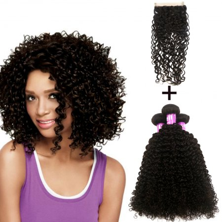 Hot Sale 3pcs Curly Wave + 1pc Hair Closure