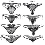Lace Thong,  Women's Sexy G-string Panties(4 Styles in One Pack, Black)