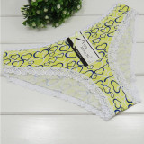Women's Cotton Underwear Ladies' Sexy Floral Printed Briefs Fashion Lace Decoration Thongs for Girls.(6pcs/lot)