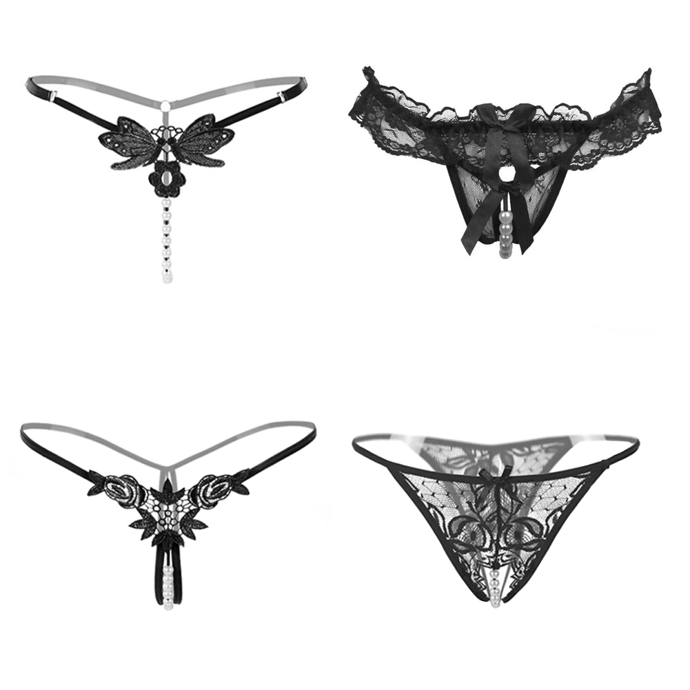 866eb88db881 Women's Black Charming Thong Lingerie Lace G-string T-back Panties(4 Styles
