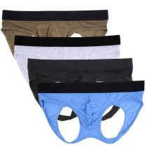 Male Underwear Hollow-Out Hip Buttock Athletic Supporter JockStrap Thong(4 pcs/lot)