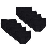 Closecret Women Black Cotton Classic Briefs Panties (Pack of 8)