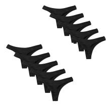 Closecret Women's Black Panties Cotton Thongs Pack of 5pcs G-strings(10 pack)