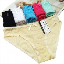 6 pcs Ladies' Fashion Intimates Lace Lingerie Women's Cotton Cut-out Briefs Panties