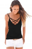 Black Lowcut V-neck Crisscross Cami Top