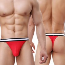 Men's Sexy Low-Rise Hollow Out Strap Striped Stretch Briefs Thong Underwear Pouch(2 pack)