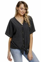 Closeret Black Dolman Buttoned Front Top with Tie