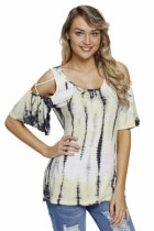 Closecret Yellow Tie Dye Print Crisscross Cold Shoulder Top