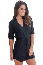 Closecret Black Chiffon Roll-tab Sleeve Shirt Dress