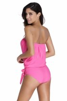 Closecret Pink 2pcs Bandeau Tankini Swimsuit
