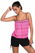 Closecret Pink Lace Overly Black 2pcs Bandeau Tankini Swimsuit