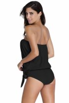 Closecret Black 2pcs Bandeau Tankini Swimsuit