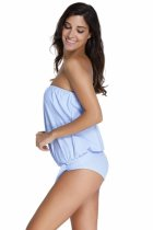 Closecret Light Blue 2pcs Bandeau Tankini Swimsuit