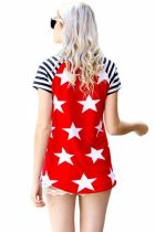 Closecret Striped Short Sleeves Red Black American Flag T-shirt