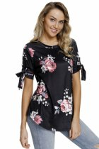 Closecret Black Floral Print Tie Detail Short Sleeve Blouse