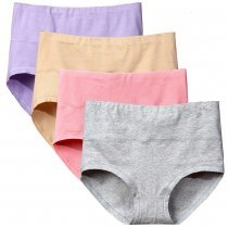Bossail Womens Comfort Cotton Underwear 4 Pack High Waist Briefs Tummy Control Ladies Stretch Panties Underpants