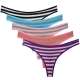 Women's Cotton Thongs Panties Pack of 5pcs Color Stripes G-strings