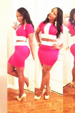 WOMANS SEXY PINK PANEL BODYCON DRESS L2705