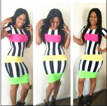 Stripe Bodycon Dress L2709