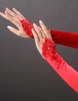 Red Beaded Satin Gloves TY022-1