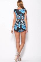 Sexy Rose Shorts Waist Gauze Black Blue Flower Printed Jumpsuit