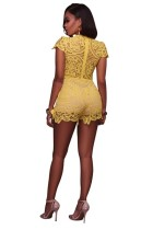 Saylor Yellow Crochet Lace Nude Illusion Romper L55292-2