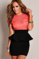new women peplum dress slim hip package lace dress L2376-2