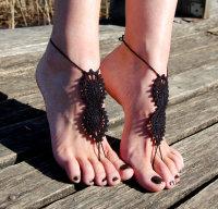 Black Beach Fashion Crochet Barefoot Sandals L98002-1