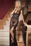 Mesh and Lace V Neck Gown L5081-2