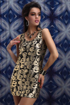 Summer Sexy alphabet Print Metallic Tank Mini Dress Bodycon Club