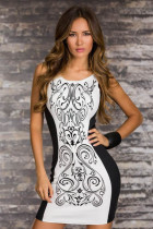New Fashion Women Vintage Printed Dress Black and White Bodycon