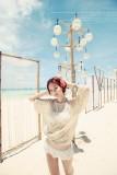 Handmade white beach dress L3781